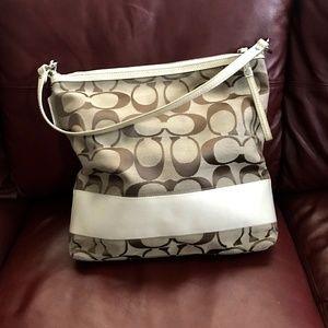 Coach shoulder bag/tote, canvas & leather, NWOT